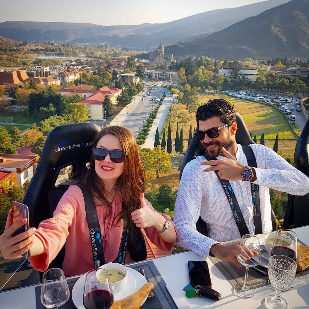 dinner in the sky with Mtskheta view