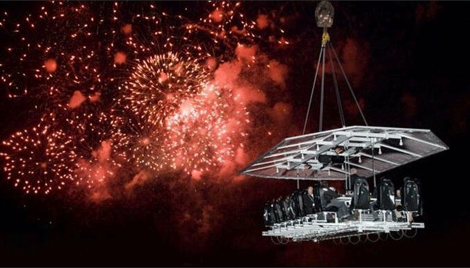 wedding in the sky of Georgia with fireworks